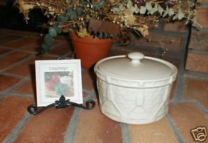 Primary image for Longaberger Pottery Ivory Casserole Dish Vitrified W Lid Drum Crock USA Made New