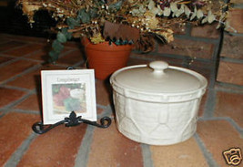 Longaberger Pottery Ivory Casserole Dish Vitrified W Lid Drum Crock USA Made New - $24.70
