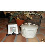Longaberger Pottery Ivory Casserole Dish Vitrified W Lid Drum Crock USA ... - $24.70