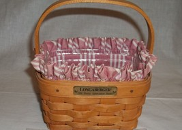 Longaberger Small Basket Combo With Pink Liner New Original Packaging Ha... - $32.62