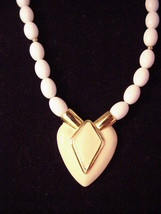"Classic Vintage signed Napier Heart Necklace Goldtone Cream white 23"" - $16.95"