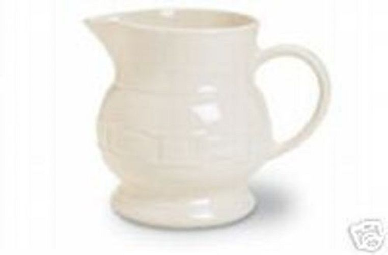 Longaberger Baskets Pottery Small Woven Tradition Ivory Pitcher  Made In USA New