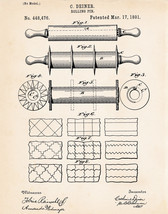 1891 Rolling Pin Patent Print Drawing Primitive Rustic Kitchen Wall Decor Ideas - $9.50+