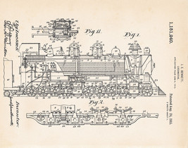 Train Pics Steam Engines Locomotive Patent Drawings Art Prints Railfan G... - $9.41+