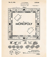 1935 Monopoly Art Patent Poster Print Board Game Drawing Kids Room Wall Decor - $9.41 - $16.78