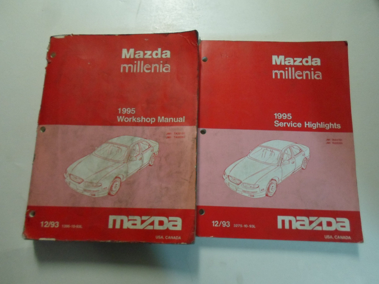 1995 Mazda Millenia Workshop Manual 2 VOL SET STAINED WORN FACTORY OEM BOOK  95