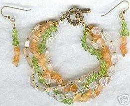 4 Strand Mixed Gemstone Bracelet and Earring Set - $26.99