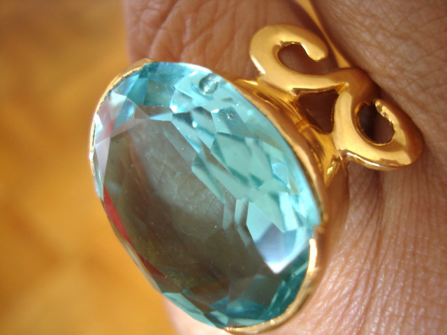 Ring aquamarine horn 2 gold