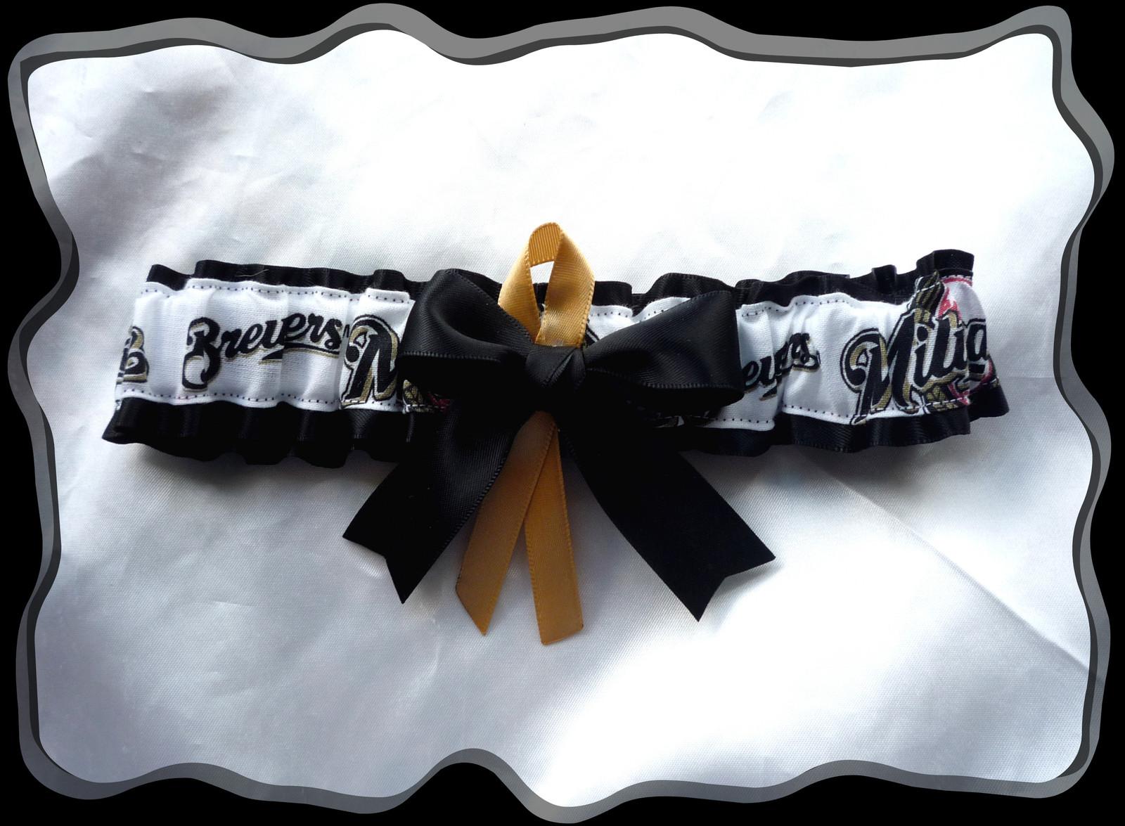 Milwaukee Brewers Black Satin Fabric Ribbon Wedding Garter Set