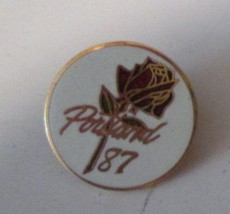 "1987 PORTLAND rose pinback lapel PIN 0.75"" - $31.99"