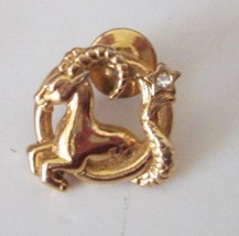 "CAPRICORN Ram Zodiac Astrology sign goldtone pinback lapel PIN 1"" - $21.99"