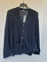 Polo Ralph Lauren Men's Ink Blue Navy Linen Cardigan Sweater Size Large NWT - $72.93
