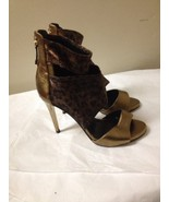 Women's Bronze Leather And Leopard Print Glitter Guess Open Toe Heels Si... - $34.64
