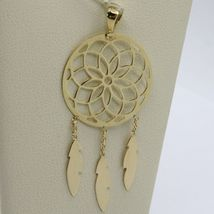 18K YELLOW GOLD DREAMCATCHER PENDANT, FEATHER, MADE IN ITALY, 1.8 INCHES, 45 MM image 3