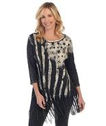 Jess & Jane Women's Old Glory Mineral Washed Cotton Fringe Tunic Top (Me... - $59.99