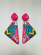 Abstract Design Colorful Pierced Earrings Dangle Drop  vintage - $20.30