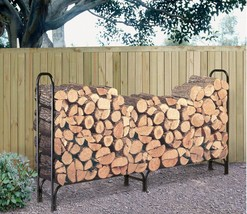 Large Firewood Rack W Cover 8' Patio Stove Firepit Wood Log Storage Hold... - $64.68