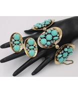 Vintage Rare Elsa Schiaparelli Turquoise Blue Bracelet Earrings Book Piece - $1,286.99