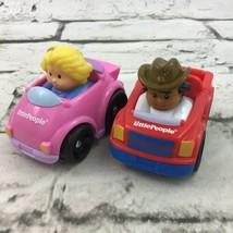 Fisher Price Little People Wheelies Racers Lot Of 2 Pink Red Truck Mattel  - $11.88