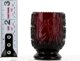 Vintage Glass Toothpick Holder Betsy Ross Daisy & Button Pigeon Blood image 3