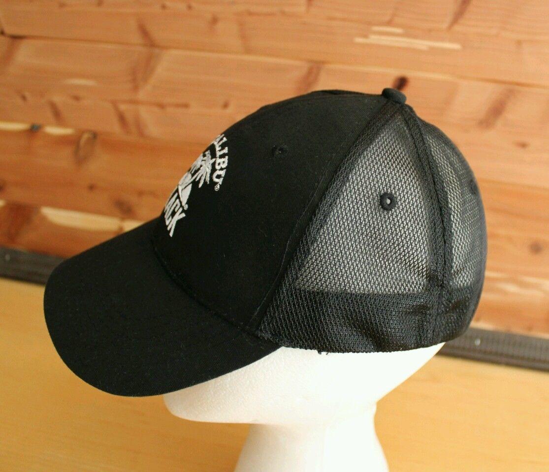 Men's MALIBU RUM BLACK Flexback Cap Embroidered Hat Booze Beach Tropical Palms