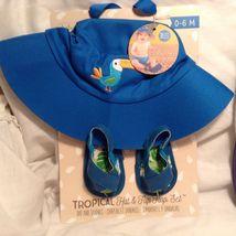 NEW Baby Aspen Blue/Tropical 2 Pc Baby Clothing Set w Set of 3 Blue Bibs Sz 0-6M image 3