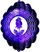 12 in stainless steel purple Rose USA 3D hanging garden wind spinner, spinners - $32.00
