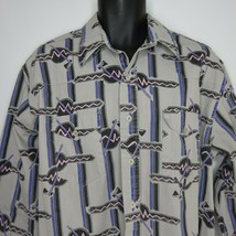 Vintage 90s Wrangler Western Button Front Shirt 17 1/2 Gray Purple Pink XL Tails - $38.08