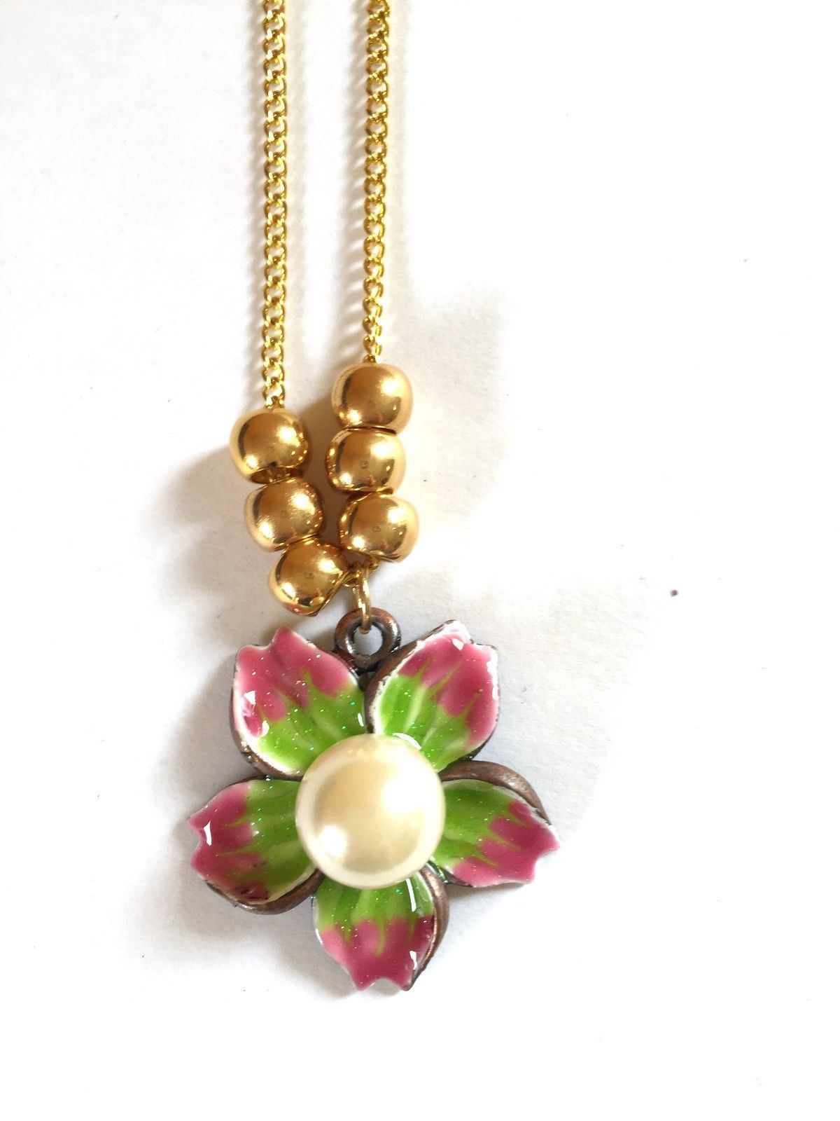 Enamel Flower Charm Necklace 17 inches Goldtone with Ball Accents