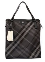Burberry Tote Nylon Buckleigh Shoulder Bag Shopper Charcoal Nova Check New - $305.91