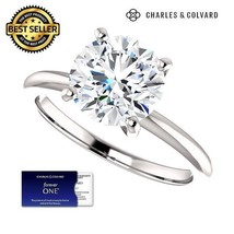 SALE! 3.00 Carat Moissanite Forever One Solitaire Ring 14K Gold Charles&... - $1,195.00