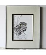 Burrowing Owl, Framed Matted Wildlife Print, Pen and Ink, Bird Art Print... - $30.00