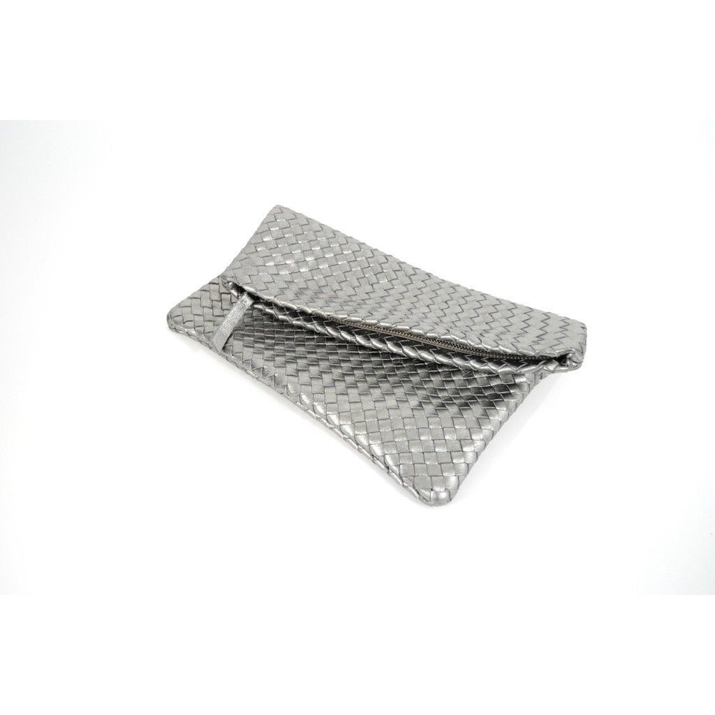 Positive Elements Hand Woven Fold Over Leather Clutch in Silver