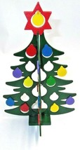 "Christmas Wooden Cut Out Ball Tree Dept 56 Cutout W/BOX 11"" X 7"" Department Rare - $9.49"