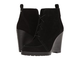MICHAEL KORS New Piper Lace Up Wedge Ankle Boots Black Leather Suede Boo... - $56.07