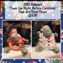 "1985 Hallmark ""Twas the Night Before Christmas"" Sewn Toy - Papa and Mama... - $20.00"