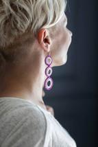 Purple Pink Long Silver Earrings Statement Fashion Dangle Earrings Crochet Earri - $20.00