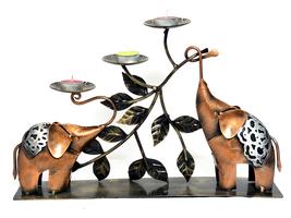 Elephant Shape Table Top Decorative Iron Candle Tea Light Home Decor Acc... - $62.95