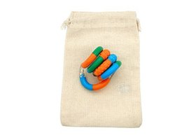 Green Blue Orange Tangle Jr. Textured Fidget Toy in Cotton Carry Bag - $8.86