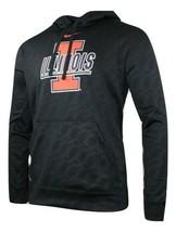 Mens Black University of Illinois Illini KO Therma-Fit Pullover Hoodie M... - $53.20