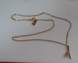 Vintage Gold-tone Amway Necklace with CZ Stone Pendant - $32.18