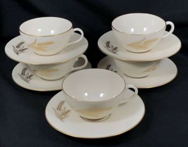 Set of 5 Wheat by Lenox R-442 Cups and Saucers Made in USA Used Gold Trim - $59.39