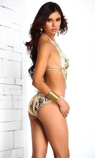 Forplay Santorini Swimsuit Metallic Halter Monokini w/ Ring Detail