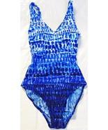 ESSENTIALS BY GOTTEX Womens NWOT Blue Built-In Bra 1-Piece Swimsuit Vari... - $26.00