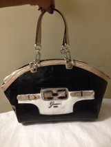 Womens Black And Tan Croc Print Patent Guess Satchel - $49.49