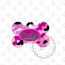 Girly Camo Pet tag, Army design dog ID, custom tags for cats or dogs, me... - $8.99