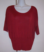 NIC + ZOE Red Scoop Neck Silk Blend Knit Top 3/4 Sleeves Sz XL Extra Lar... - $22.28