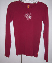 LUCY ACTIVEWEAR Pink Raspberry Winter Snowflake Cotton Yoga T-Shirt Top ... - $9.99