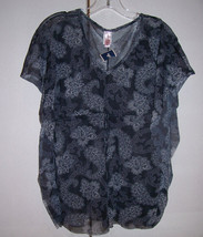 NWT SWEET PEA Sheer Black Gray Mesh Paisley Tunic Top Butterfly Sides On... - $27.23