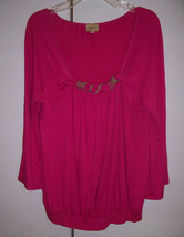 Ella Moss Fuschia Pink Blouson Top Scoop Neck w/ Twisted Rope Trim Sz XS... - $17.82